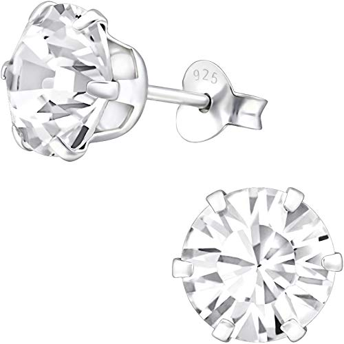 EYS JEWELRY® Pendientes para señora círculo redondo 8 x 8 mm Swarovski Elements Cristal plata de ley 925 blanco con la caja Pendientes mujer