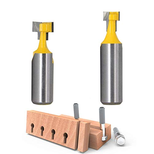 RKURCK 1/2' Shank T-Slot Cutter Router Bit Steel Handle 3/8' & 1/2' Length Woodworking Cutters for Power Tools (2PCS)