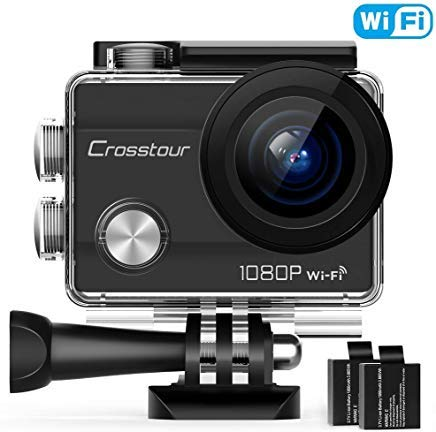 Crosstour Action Camera Full HD 1080PWiFi Underwater 40M with 2 Rechargeable 1050mAh Batteries and IP68 Waterproof Case for Vlog