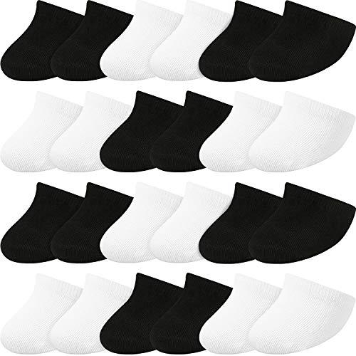 SATINIOR 12 Paar Rutschfeste Zehen Topper No Show Liner Socken Zehensocken für Frauen (Schwarz Weiß)