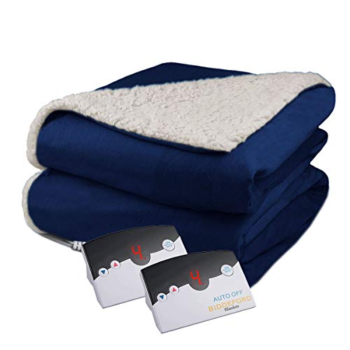 Biddeford Velour Sherpa Electric Heated Warming Blanket Queen Navy Blue Washable Auto Shut Off 10 Heat Settings