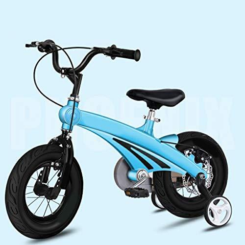 """TXTC Enfants Vélo Freestyle Formation Roues De Bicyclette Et Panier, Vélo for 2-6 Ans Ans, Cadre en Acier Au Carbone À Haute, Balance Girl Bike 12"""" 14"""" 16"""" (Color : Blue, Size : 16 in)"""