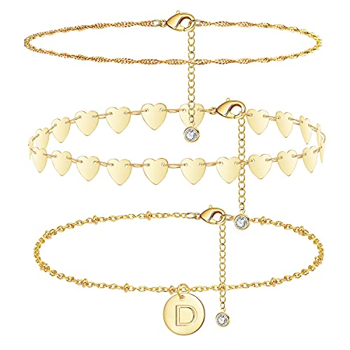 Heart Gold Initial Anklets for Women 14k Real Gold Plated Anklet Dainty Engraved 26 Letter Round Coin Disc Alphabet Anklet Satellite Beaded Anklet Layered Anklet Set 3pcs