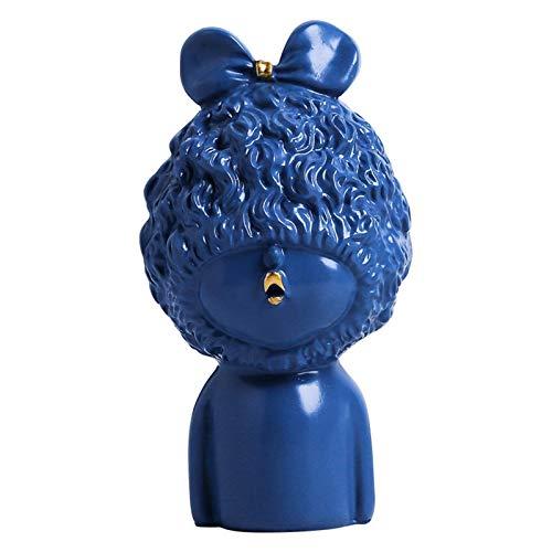 彫刻 ノルディック樹脂彫刻フィギュア像のリビングルームのオフィス装飾工芸品創造的なかわいい女の子ロリモデルのギフト 彫像 (Color : Blue)