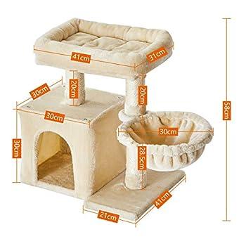 IBUYKE 58cm Arbre à Chat Colonne en Sisal, avec Grande Plate de Luxueuses, 1 Maison et 1 Panier, Arbres de Meubles de Maison de Chatons, Beige CT002M