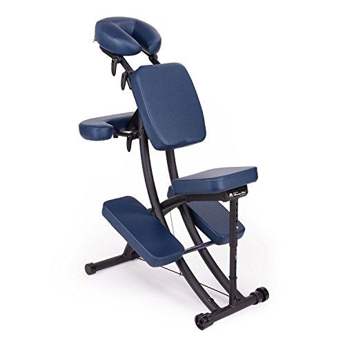 Oakworks Pro Paket, Massagestuhl (sapphire/dunkel-blau), klappbar, mobil, als Komplettpaket mit passender Transporttasche und Papier-Kopfstützbezügen (100 Stk.), vielseitig verstellbarer Therapiestuhl, hochwertige Markenqualität aus den USA