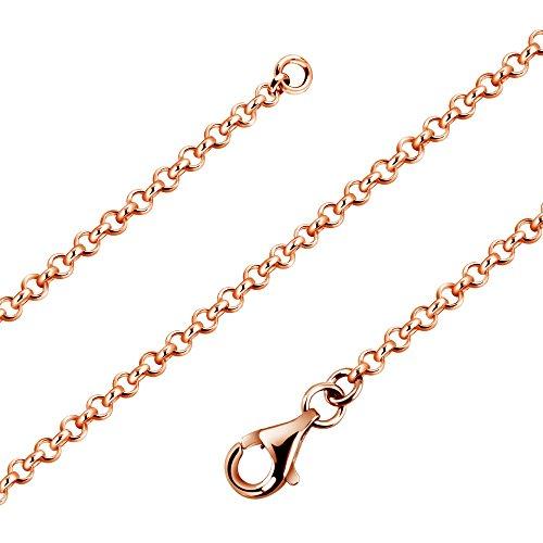 Avesano Klassische Erbskette 2,2mm Breite in 925er Sterling Silber Rose vergoldet mit Karabinerverschluss Schmuck, Damen Halskette Collier, Silberkette ohne Anhänger, Länge 60cm-90cm, 101012-490