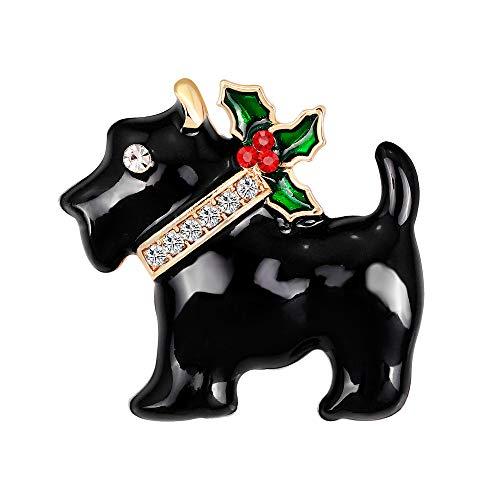 YAZILIND Rhinestone Breastpin Corsage Christmas Puppy Dog Brooch Pins Women Girls Xmas Jewellery Gift(Black)