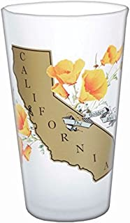 SF Mercantile The Golden State of California Souvenir 16 oz Frosted Pint Glass featuring the beautiful state flower - poppies