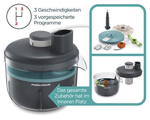 Morphy Richards 401014 Prepstar, 4 l kom, 1,6 l capaciteit, 6 instellingen, BPA-vrij, compacte keukenmachine, 240, grijs