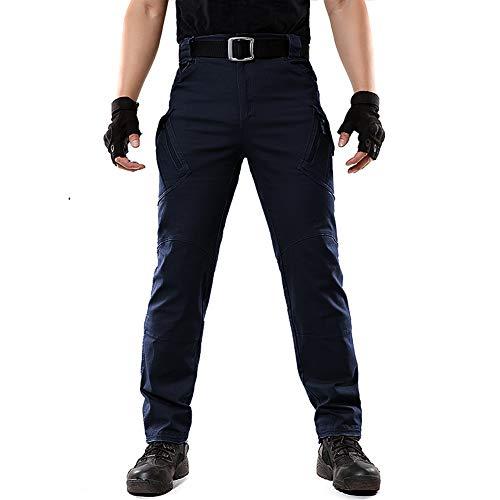 FEDTOSING Cargohose Herren Vintage Militär Tactical Hosen mit Stretch Arbeitshose Outdoor Viele Taschen Leichte Baumwolle Navy 40x32