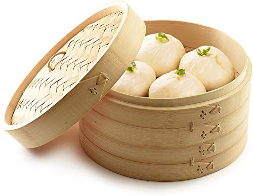 Bamboo Steamer 10 Inch, 2 Tiers Chinese Food Steamers, Traditional Design Healthy Cooking for dumplings, vegetables, chicken, fish - Handmade Steam Basket Included 2 Gauze Liners and Chopsticks