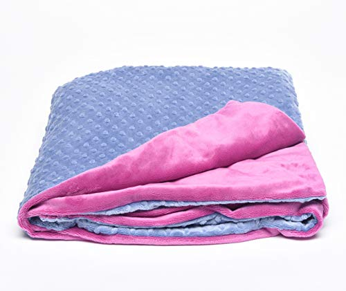 Creature Commforts Weighted Blanket for Kids, Adults - Sleep Better - Removable Minky Cover, Organic Insert - Made in USA - Large 12 lbs 35 x 50 - Pink