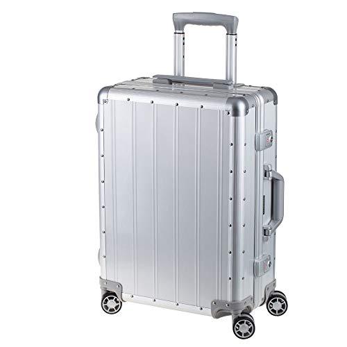 Alumaxx Maleta de Viaje Orbit de Aluminio, con 4 Ruedas Dobles de 360°, 54 cm, Plata (Plateado) - 45170