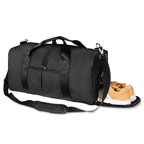 Sports Gym Bag with Shoes Compartment and Wet Pocket, 27L Travel Duffle Bag for Men and Women
