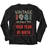 lepni.me Camiseta de Manga Larga para Hombre Personalizado con Cualquier Año Regalo Vintage Todas Las Piezas Originales (XX-Large Negro Multicolor)
