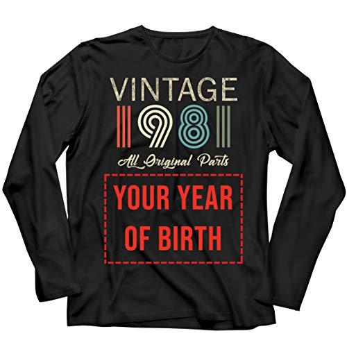 lepni.me Camiseta de Manga Larga para Hombre Personalizado con Cualquier Año Regalo Vintage Todas Las Piezas Originales (Medium Negro Multicolor)