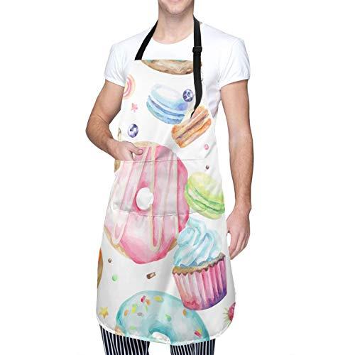 Delantal, delicioso macarrones magdalenas, donuts, azúcar, sabroso y delicioso diseño de acuarela, babero de cocina unisex con cuello ajustable para cocinar jardinería, tamaño adulto, verde y rosa