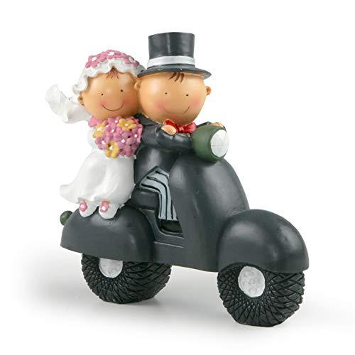 Mopec Y70 - Figura per torta coppia di sposi Pit & Pita in moto, 17 cm
