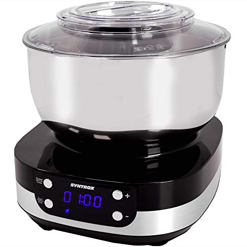 Syntrox Germany KM-800W BLACK Küchenmaschine Knetmaschine Mixer, Edelstahl-Behälter, 5 Liter