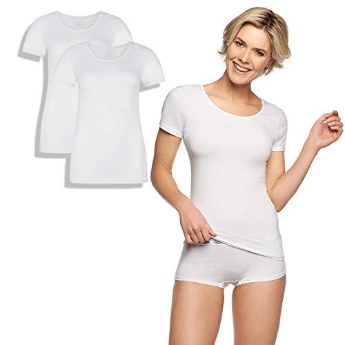 Bamboo Basics - Dames Bamboe T-shirt (2-pack) - Zwart - Wit - Kate - Ronde hals en korte mouwen - Zijdezacht, Ademend en Hypoallergeen