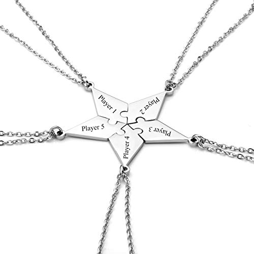 Personalized Master Free Engraving Custom Stainless Steel 5/6 Pieces Best Friends BFF Family Necklaces Keychains Friendship Puzzle Piece Charm Pendant Necklace Set