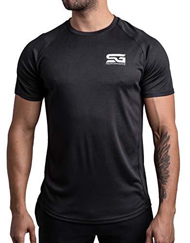 Satire Gym – Muscle Fit Sportshirt Herren/Eng sitzendes & schnell trocknendes Sport Mesh-Shirt/Sportbekleidung für Herren - Geeignet als Fitness- & Bodybuilding Shirt (schwarz, M)