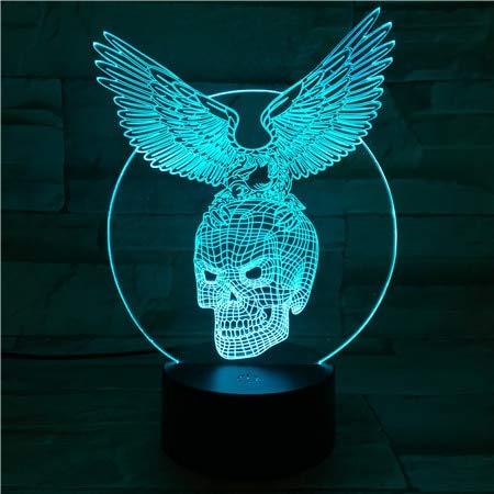 CM Acryl Panel Schädelflügel Halloween Lava 3D LED Nachtlicht Tischlampe Nachttisch Dekoration Kinder Geschenk