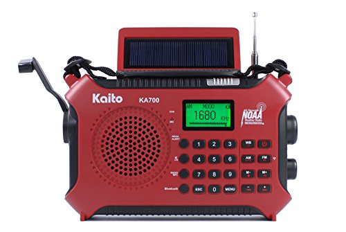Kaito KA700 Bluetooth Emergency Hand Crank Dynamo & Solar Powered AM FM Weather NOAA Band Radio with Recorder and MP3 Player - Rugged Design for Hiking, Camping, Construction Sites, Etc.(Red)