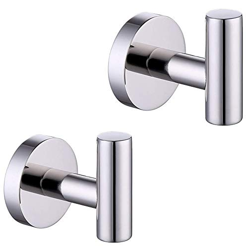 2-Pack Chrome Bath Towel Hooks Stainless Steel Single Prong Robe Hook Clothes Wall Coat Hook for Bathroom Kitchen Bedroom