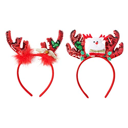 Lurrose 2 stuks pailletten rendier gewei haarband met klokjes Kerstmis haaraccessoires hoofdtooi kerstmuts eland hoofddeksel kinderen volwassenen party kostuum accessoires
