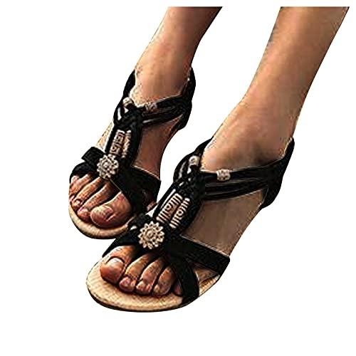 TER 2021 Sandalias de Mujer Zapatos Romanos Sandalias de Cantante de Mujer sillas de Ping de Verano para Mujer Zapatos de Mesa Negro Beige Negro
