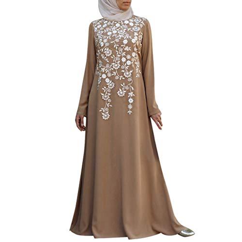 NINGSANJIN Arabisch Roben Muslime Lange Maxi Kleid Beiläufig Lose Islamisch Kleidung Kaftan Marokkanisch Abend Party Kleider (Khaki,5XL)