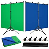 YAYOYA Green Screen Blue Screen Backdrop with Stand Kit 5x6.5ft, 2-in-1 Reversible Blue Green Screen with Portable T-Shaped Photography Background Stand and 5 Backdrop Clips, for Photo Video Studio