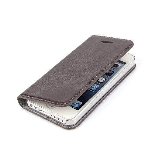 Wormcase ® Handytasche kompatibel mit iPhone 5-5S-SE – ECHTLEDERHÜLLE - KARTENFACH – MAGNETVERSCHLUSS – Farbe Grau - Case Echt-Leder-Tasche-Hülle-Case Etui Flip Schutz-huelle Echtes-Leder
