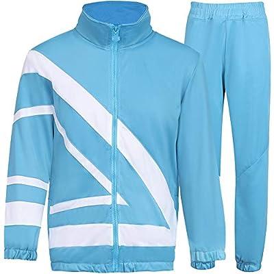 MACHLAB Men's Tracksuit 2 Piece Jacket & Pants Warm Jogging Athletic Suit Casual Full Zip Sweatsuit Gym Activewear Light Blue M#099
