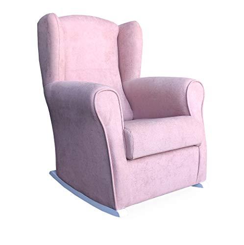 Butaca Lactancia Rodero o mecedora- Tela Antimanchas (Acualine). Medidas: 96 * 74 * 78 cm. Ideal para amantar y balancear al bebe para dormirlo.… (rosa)
