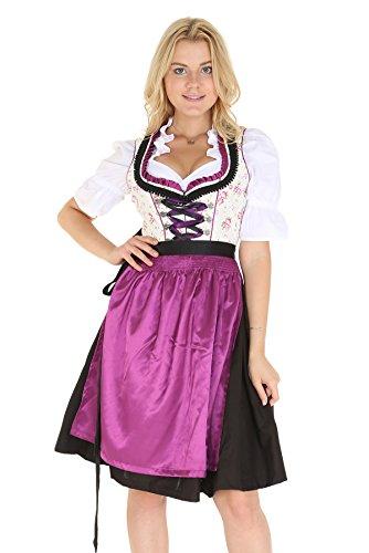 Bavarian Clothes Dirndl Damen Beige Schwarzes Trachtenkleid 3 teilig '5020' Midi Dirndl mit Dirndlbluse und Lila Dirndlschürze (Größe 40)