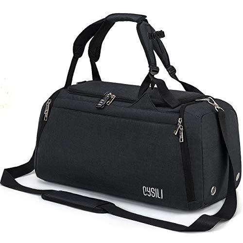 CYSILI® Reisetasche Sporttasche mit Rucksack-Handgepäck mit Schuhfach - Nassfach & Zahlenschloss - Männer & Frauen Fitnesstasche - Tasche für Sport, Fitness,42L Gym - Travel Bag & Duffel Bag (Schwarz)