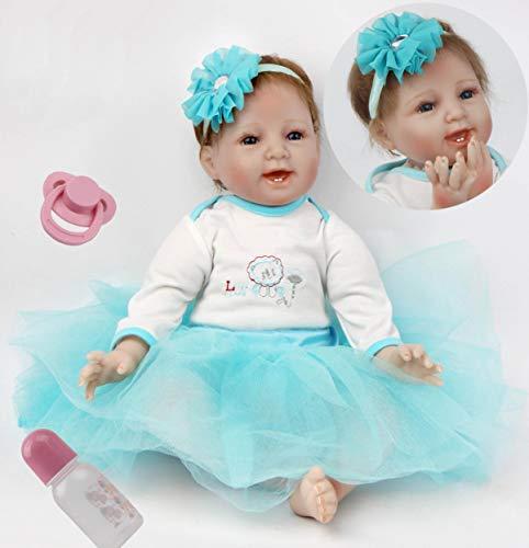ZIYIUI 22 pollici 55 cm Bambole Reborn Femmine Realistico Silicone Vinile Reborn Femmina Regali di Festa Reborn Baby