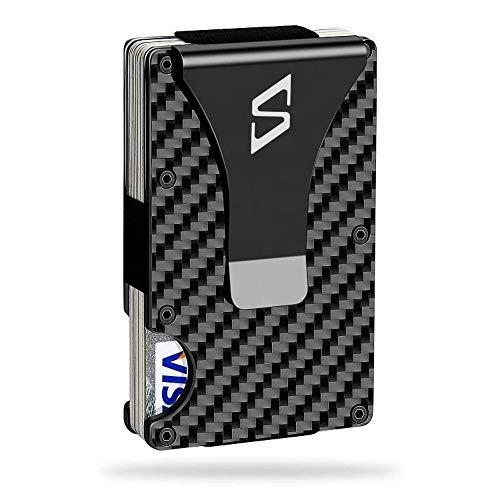 Seysa Carbon Fiber Wallets for Men - Reinforced Money Clip - Slim Front Pocket Wallet - Minimalist RFID Blocking Aluminum Wallets for Mens - Gift Screwdriver