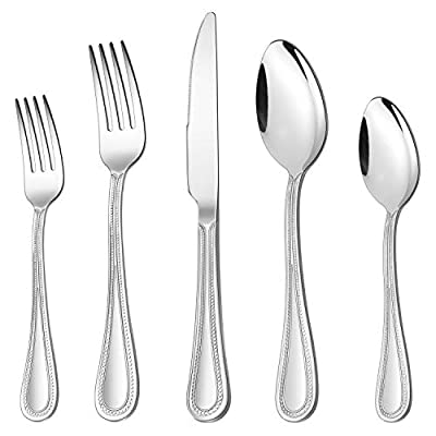 60-Piece Silverware Set, HaWare Stainless Steel Flatware Service for 12, Pearled Edge Tableware Cutlery Include Knife/Fork/Spoon, Beading Eating Utensil for Home, Mirror Polished, Dishwasher Safe