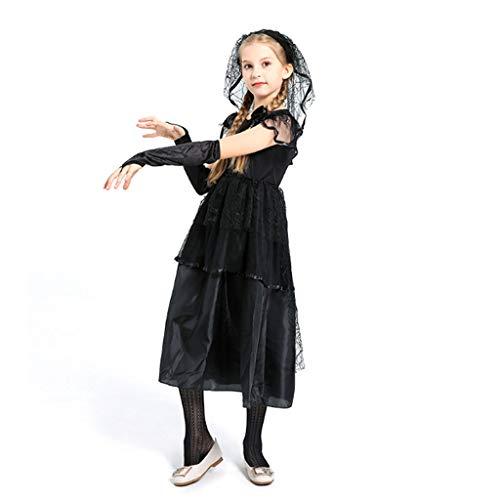 DONGBALA Halloween Brautkleid, Kind Zombie Braut Halloween-Kostüm Ghost Braut Cosplay Brautmode Leistungskleidung Für Mädchen Schwarz Kleid + Schleier,120cm