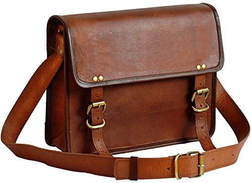 33 Cm Bolso Bandolera Laptop Bag Bolsa De Hombro Cuerpo Cruzado Grande para Mensajero Mensajeria De Cuero Piel Marron Portatil Notebook Bag College Office Hombre Y Mujer Leather Messenger Bag