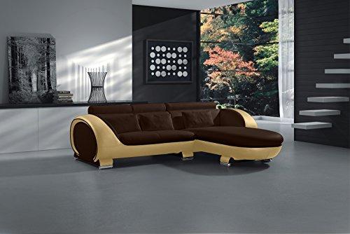 SAM Ecksofa Vigo Combi 1, braun/Creme, Couch aus Kunstleder, 242x181 cm rechts