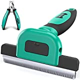 Ruff 'n Ruffus Deshedding Brush + Free Bonus Nail Clippers | Reduces Shedding by up to 95% | Pet Brush for All Breeds | Shedding Brush for Cats and Dogs | Non-Slip Grip with Detachable Head Design