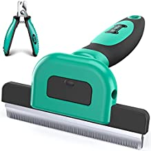 Ruff 'n Ruffus Deshedding Brush + Free Bonus Nail Clippers   Reduces Shedding by up to 95%   Pet Brush for All Breeds   Shedding Brush for Cats and Dogs   Non-Slip Grip with Detachable Head Design