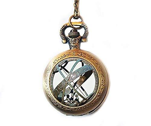 Montre de poche avec cadran solaire astronomique - Collier avec pendentif en forme de globe - Montre de poche - Bijoux astronomiques vintage - En bronze - Avec un cadran solaire