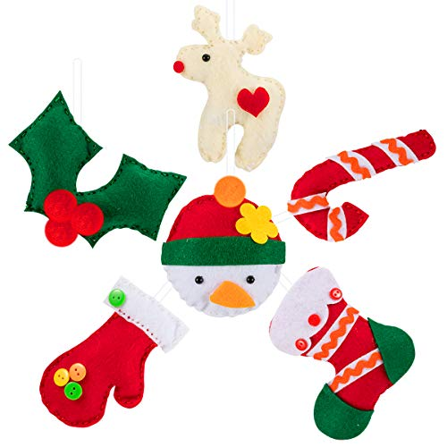 APIPI 6 Packs Christmas DIY Craft Sewing Kits for Kids, Learn to Sew Felt Christmas Ornament Craft Project for Girls Boys to Teach Basic Sewing Stitches, Embroidery & more