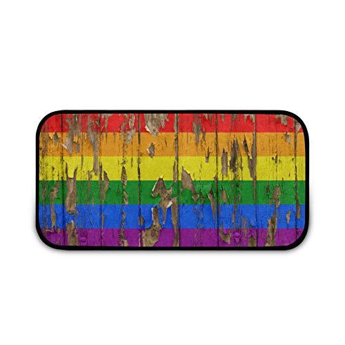 Felpudo de madera con bandera de arco iris, fácil de limpiar, antideslizante, para patio, puerta, entrada, garaje, cocina, baño, lavandería, todo tipo de clima, interior/exterior